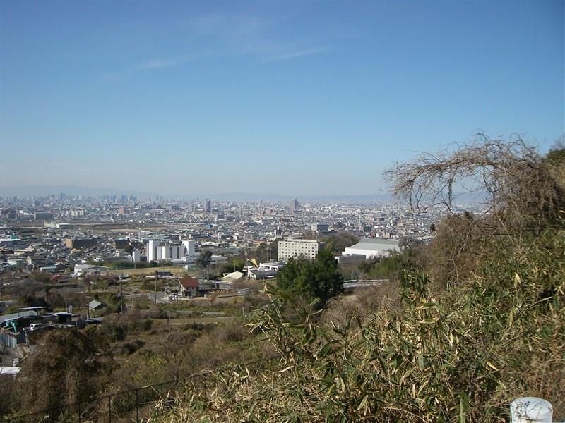途中のコーナーからの、大阪市内の眺め