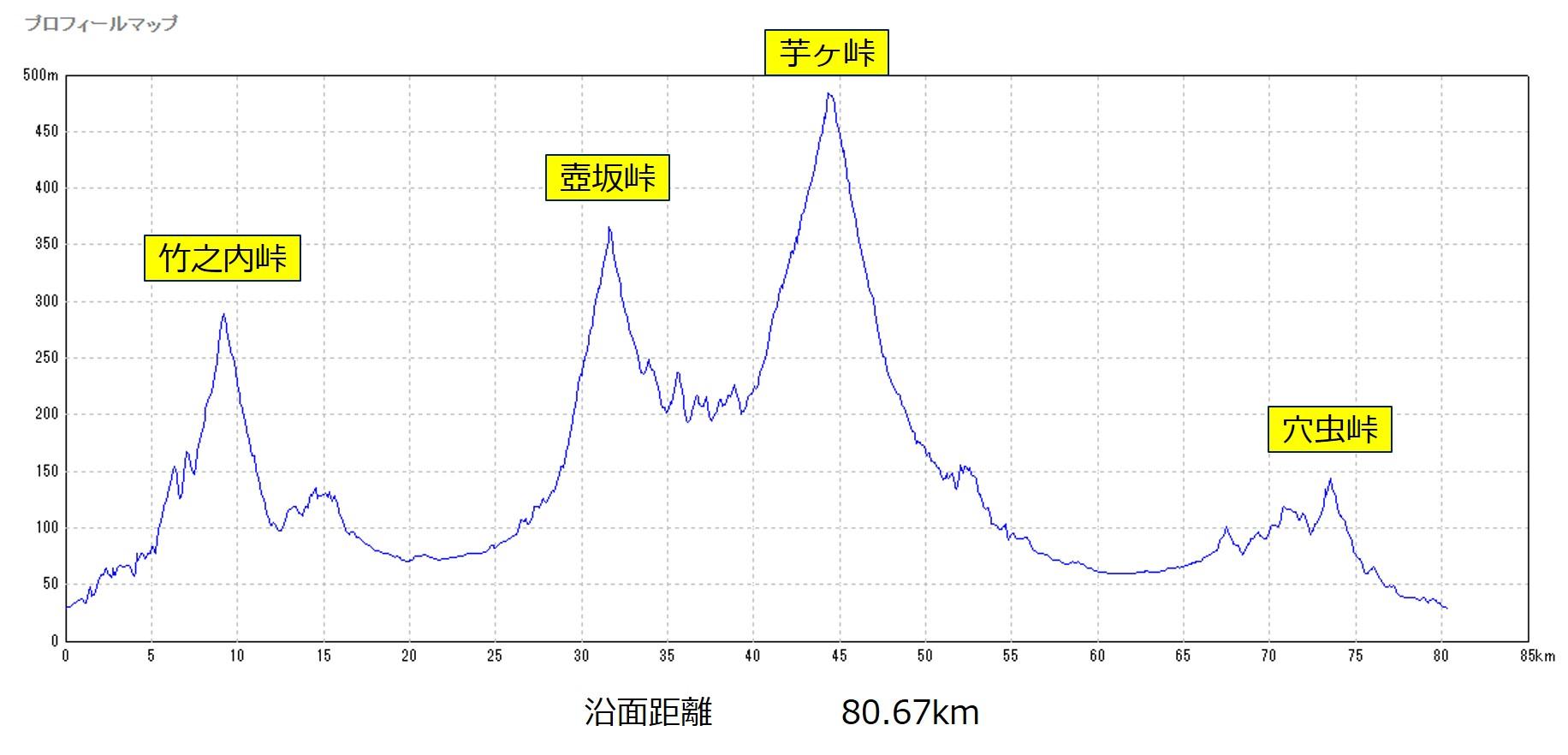 29-013 竹之内峠~壺坂峠~芋ヶ峠 約81kmのコースプロフィール