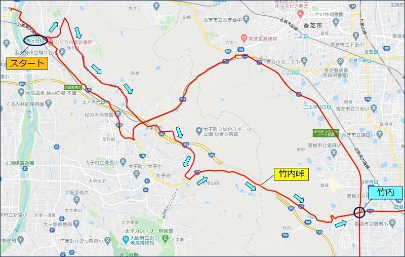 近鉄南大阪線の駒ヶ谷駅から、竹之内峠を越えて奈良に入る