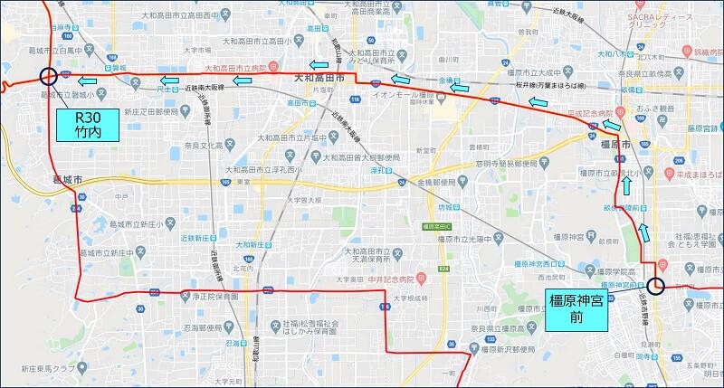 橿原神宮経由 R166:下街道で竹内まで戻る