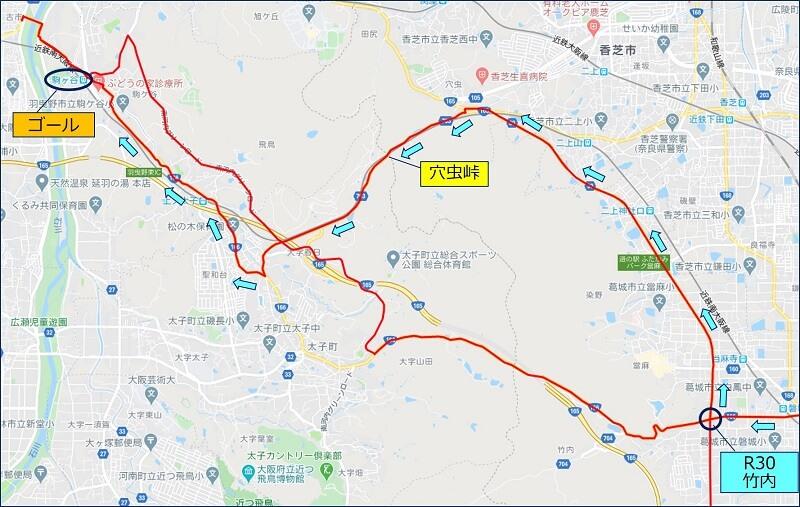 R165:大和高田バイパスから R703:穴虫を通って駒ヶ谷駅に帰着