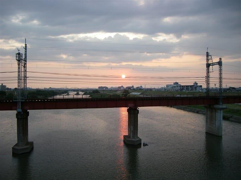 新大和橋から観た夕日