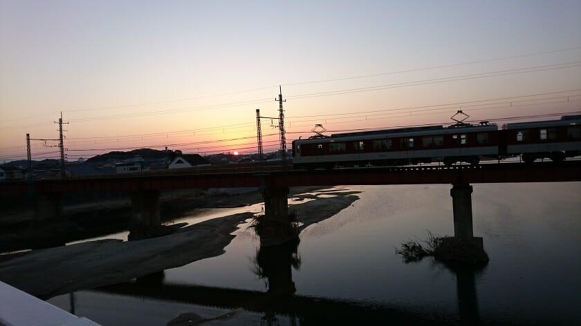新大和橋からの夕日