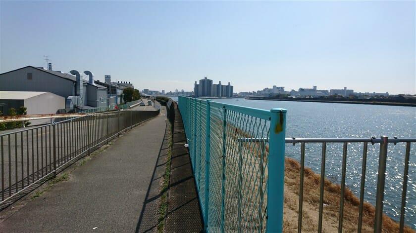 東海道本線を潜った辺りで、河川敷の道が終わり、堤防横の道に出る