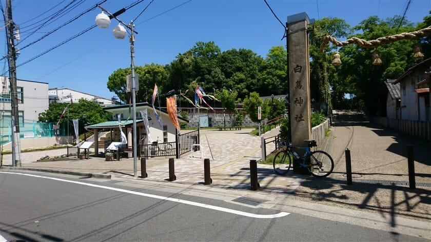白鳥神社入り口横にある、竹ノ内街道や古市古墳群の案内書