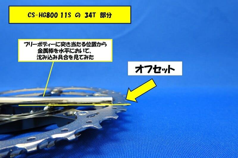 【 オフセット 】CS-HG800 11S の 34T 部分