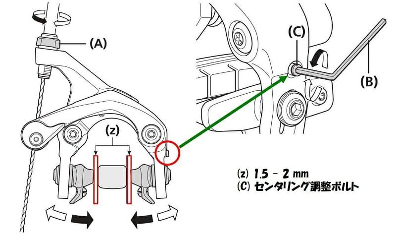 ケーブルを通して、シュークリアランスが左右が同じになるように調整する
