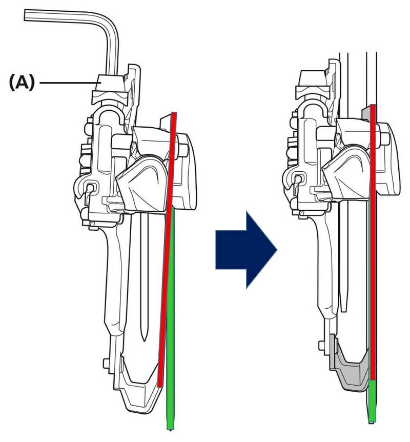 チェーンガイドの後端が、0.5~1.0mm内側になるように固定しておく