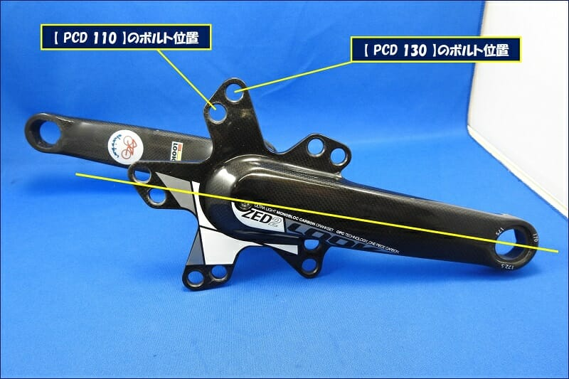 チェーンリングボルト】の使用位置で【 PCD 130 】と【 PCD 110 】が選択できるようになっている