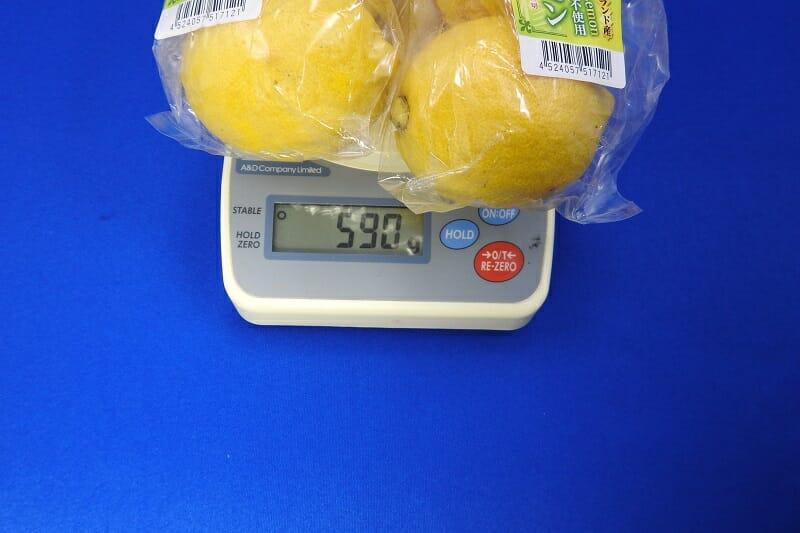一般的なレモン:6個の重さ