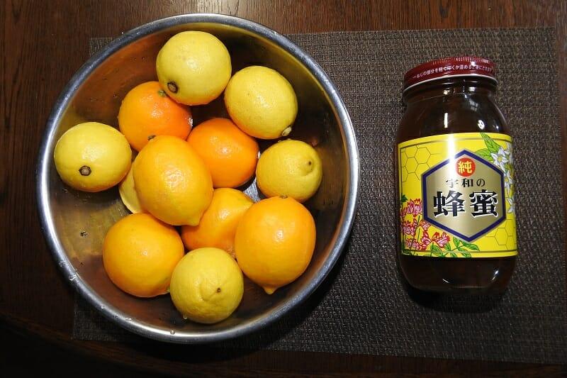 それぞれのレモン、合計12個とハチミツ