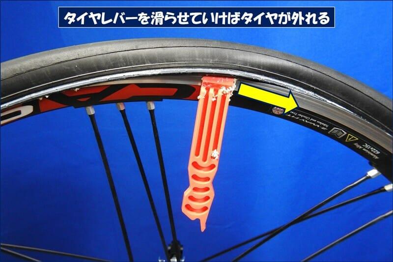 その後は、タイヤレバーを滑らせていけばタイヤが外れる
