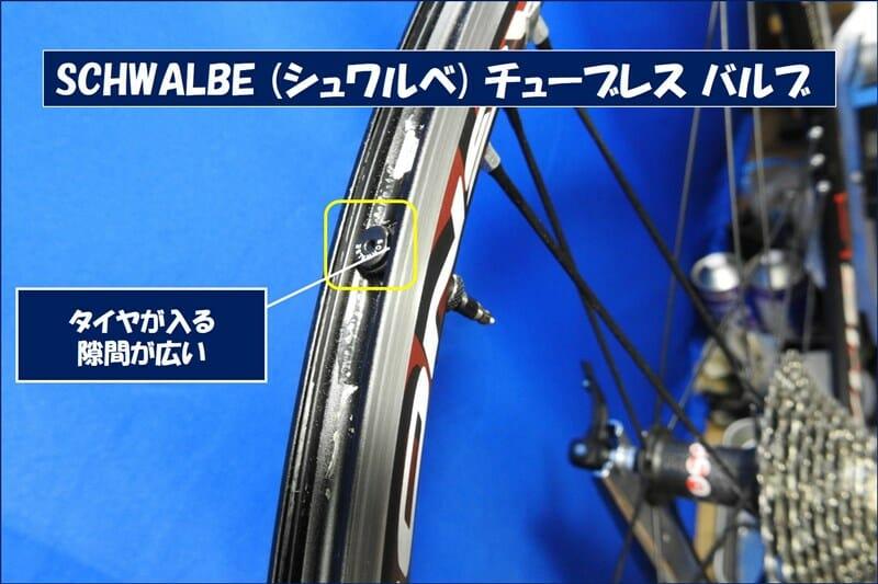 SCHWALBE のバルブは、タイヤが入る隙間が広くて良い