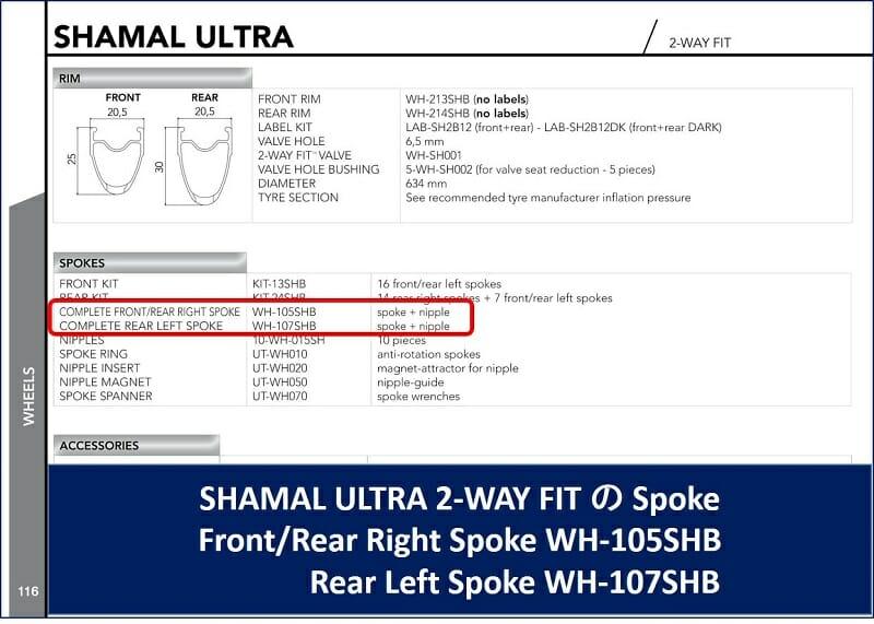 SHAMAL ULTRA 2-WAY FIT の部品表を探す。品番は「WH-105SHB」らしい