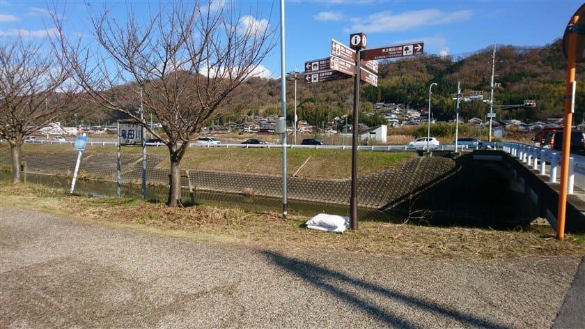 竜田川に出る。この橋を渡れば、R168。