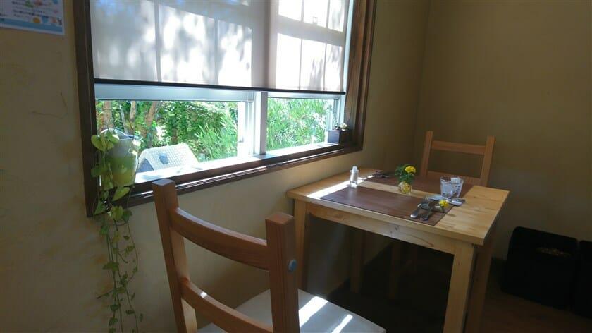 やわらかな『木漏れ日』が差し込む窓際の、明るいテーブル席でランチを頂く。