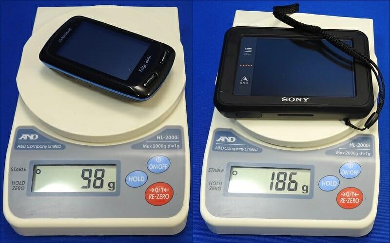 GARMIN Edge800J との重量比較