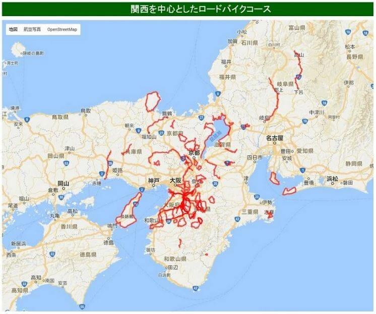関西を中心としたロードバイクコースの地図
