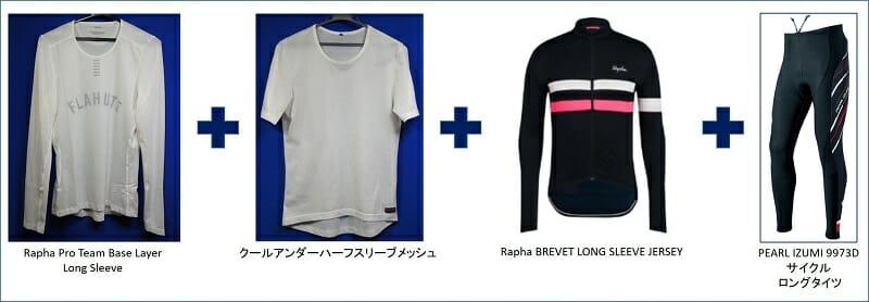 気温:14~18℃(04月)。「Rapha Brevet Long Sleeve Jersey」。