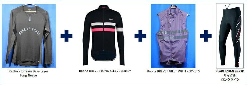 気温:16~20℃(04月)。「Rapha Brevet Long Sleeve Jersey」。