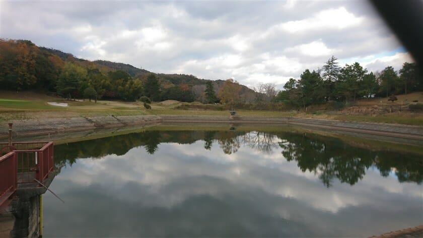 毛無上池から、法隆寺カントリーを望む
