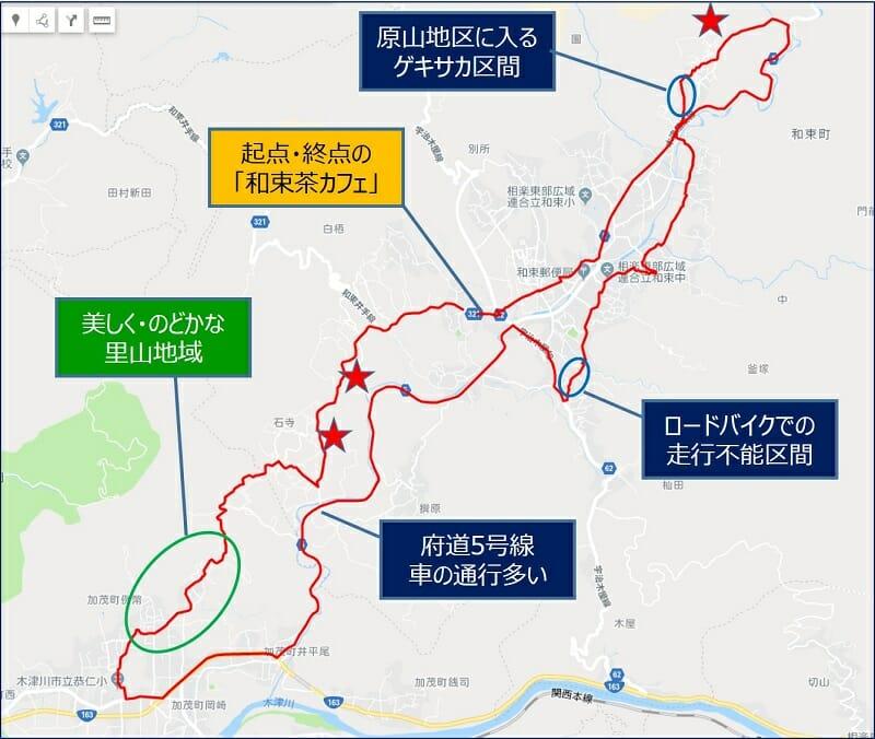和束・茶畑ライド コース上の見所と注意箇所
