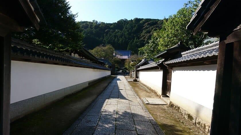 左:念佛院、右:大門坊の間にある本堂への石畳