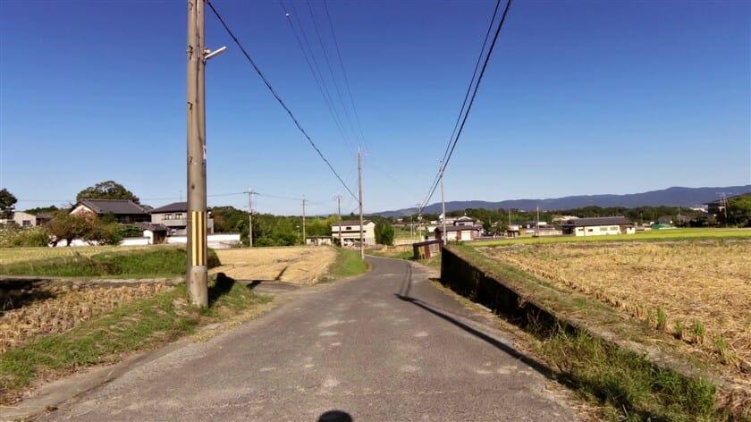 正面の白い家のところで、R189矢田寺線に出る