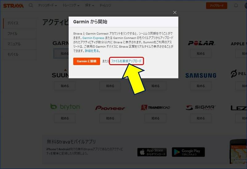 「GARMINから開始」が表示されるので、「ファイルを直接アップロード」をクリックする