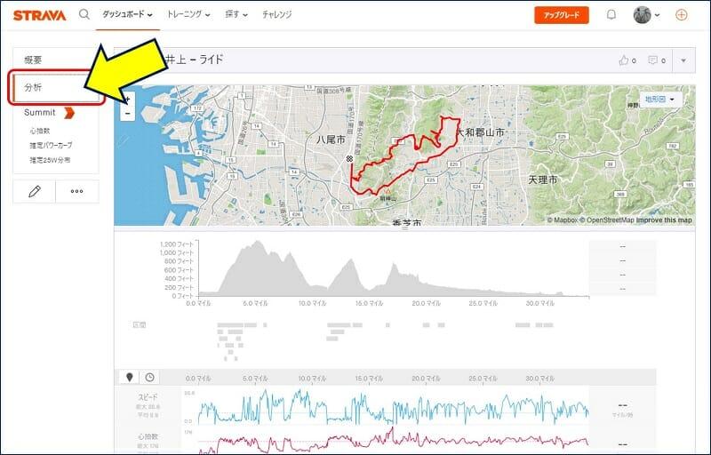 左にある「分析」を選択すると、スピードや心拍数のグラフを見ることもできる