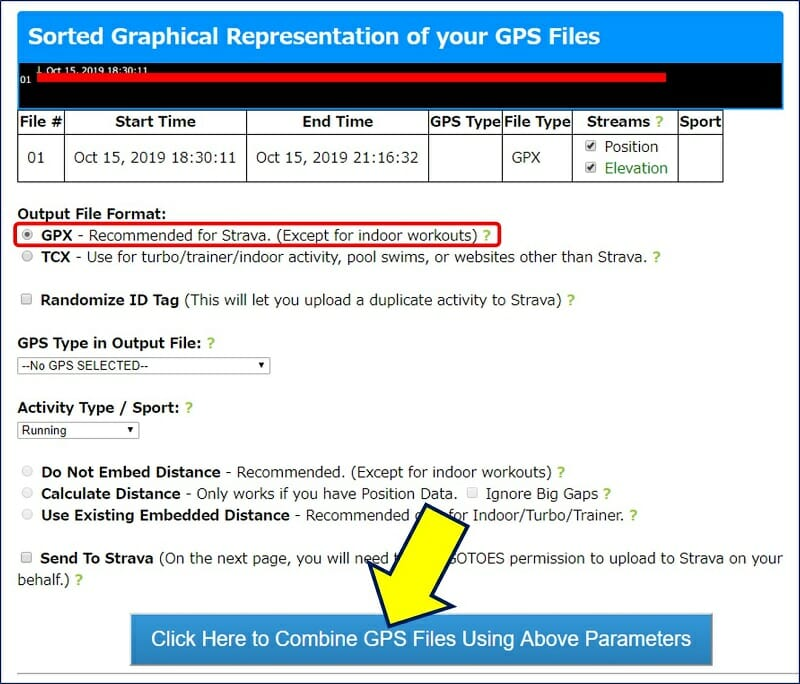 ダウンロード画面が開くので、「Output File Format」が「GPX」になっていることを確認して、「Click Here」をクリックする