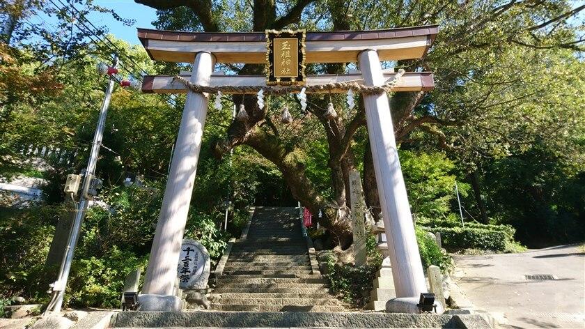 玉祖神社の鳥居と参道
