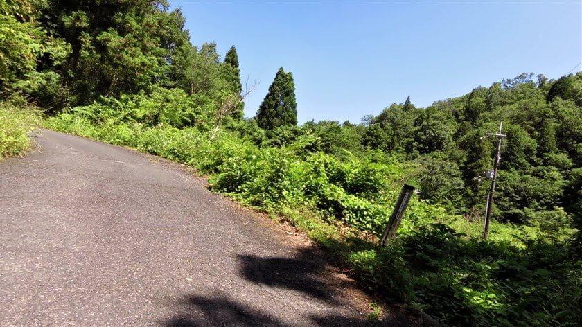 三叉路に出た。左に行くと岩湧山。右に行くと滝畑ダム「夕月橋」という標識があった