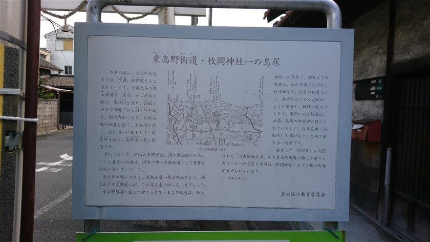 枚岡神社 一の鳥居の案内板