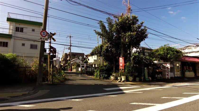 大阪府道・奈良県道12号 堺大和高田線に出て、近鉄南大阪線の踏切を渡る