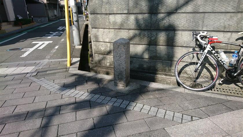 すぐ南に、西(右手)からTの字に交わる「大阪道(野中を経て平野に至る)」との交差点があり、右手に道標が1つある